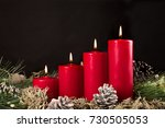 Red Advent Candles With Green...