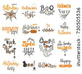 set of halloween lettering and... | Shutterstock .eps vector #730505536