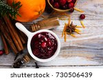 cranberry sauce with... | Shutterstock . vector #730506439