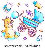 pastel baby boy set for print...   Shutterstock .eps vector #730508056