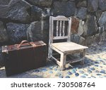 lonely vintage chair and travel ... | Shutterstock . vector #730508764