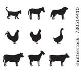 farm animals silhouettes icons... | Shutterstock .eps vector #730514410