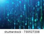 abstract blue binary code... | Shutterstock . vector #730527208