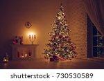 house in christmas  | Shutterstock . vector #730530589