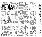 media doodle  seamless... | Shutterstock .eps vector #730533304