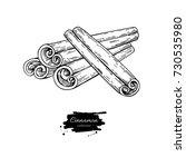 cinnamon stick vector drawing.... | Shutterstock .eps vector #730535980
