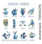 collection of all zodiac signs. ... | Shutterstock .eps vector #730536196