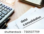 documents with title debt... | Shutterstock . vector #730537759