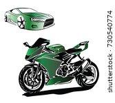 motorbike and car vector | Shutterstock .eps vector #730540774