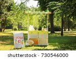 wooden lemonade stand in park | Shutterstock . vector #730546000
