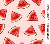 watermelon seamless pattern.... | Shutterstock .eps vector #730547020