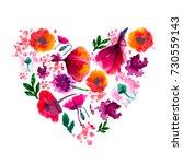 Painted Watercolor Flower Hear...