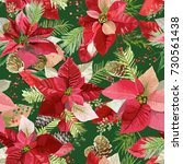 christmas winter poinsettia... | Shutterstock .eps vector #730561438