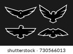 eagle  a set of monochrome... | Shutterstock .eps vector #730566013