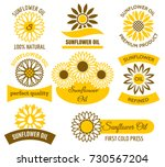 sunflower oil logo set. vector... | Shutterstock .eps vector #730567204