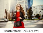 fashion outdoor portrait of... | Shutterstock . vector #730571494