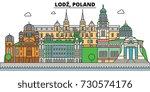 poland  lodz. city skyline ... | Shutterstock .eps vector #730574176