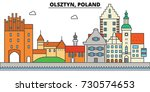 poland  olsztyn. city skyline ... | Shutterstock .eps vector #730574653