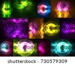 round glowing elements on dark... | Shutterstock .eps vector #730579309