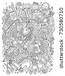cartoon cute doodles hand drawn ... | Shutterstock .eps vector #730580710