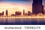 musical fountain of dubai ... | Shutterstock . vector #730582174