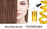 hair treatment by oil therapy... | Shutterstock . vector #730585684