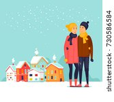 couple cityscape winter. flat... | Shutterstock .eps vector #730586584
