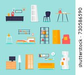 furniture in the interior set.... | Shutterstock .eps vector #730586590
