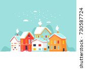 winter city landscape. merry... | Shutterstock .eps vector #730587724
