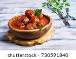 traditional spicy meatballs in... | Shutterstock . vector #730591840