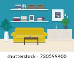 living room interior with... | Shutterstock .eps vector #730599400