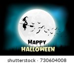 halloween moon witch and bats | Shutterstock .eps vector #730604008