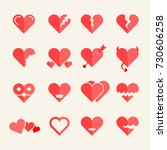 flat heart icons or symbols set | Shutterstock . vector #730606258
