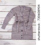 gray cardigan with black... | Shutterstock . vector #730608904