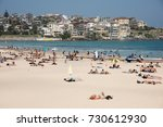 sunny day with crowds and... | Shutterstock . vector #730612930