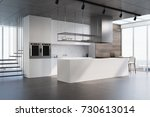 white and wooden kitchen... | Shutterstock . vector #730613014