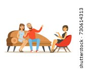 young family couple characters... | Shutterstock .eps vector #730614313