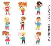 set of little boys and girls... | Shutterstock .eps vector #730614340