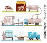 production of milk set  milk... | Shutterstock .eps vector #730614649