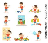 funny little boy playing games... | Shutterstock .eps vector #730614820