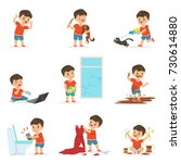 funny little kid playing games... | Shutterstock .eps vector #730614880