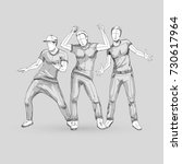 set of sketch dancing males in... | Shutterstock .eps vector #730617964