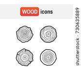 set tree rings icons vector... | Shutterstock .eps vector #730635889