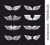 set of different vector wings... | Shutterstock .eps vector #730636126