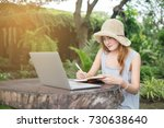 young cute brown hair woman... | Shutterstock . vector #730638640