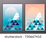 mountains of triangles.... | Shutterstock .eps vector #730667410