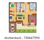 flat modern family house... | Shutterstock .eps vector #730667593