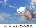 truck delivery icon on finger... | Shutterstock . vector #730667890