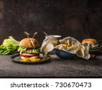 homemade tasty burger with... | Shutterstock . vector #730670473