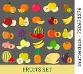 a set of fruits . organic... | Shutterstock .eps vector #730671376